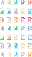 FILES & DOCUMENTS color line icons