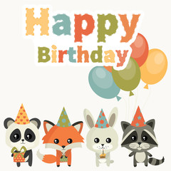 Card for birthday with cute animals. Children's birthday party. Cute birthday. Raccoon, fox, rabbit and panda. Vector set