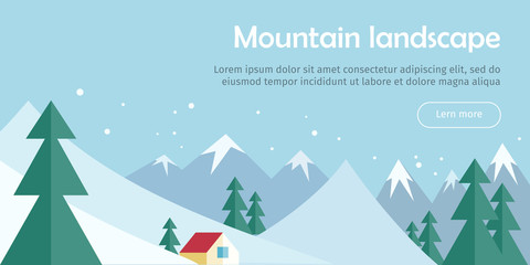 Mountain Landscape Web Banner. Skiing Scinery