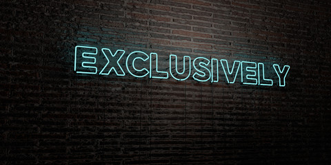 EXCLUSIVELY -Realistic Neon Sign on Brick Wall background - 3D rendered royalty free stock image. Can be used for online banner ads and direct mailers..