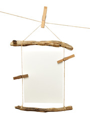 Tree branch frame with pins isolated on white background