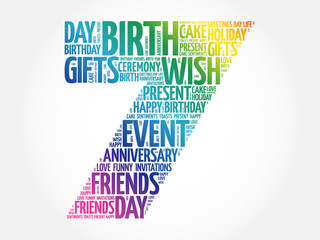 Happy 7th birthday word cloud collage concept