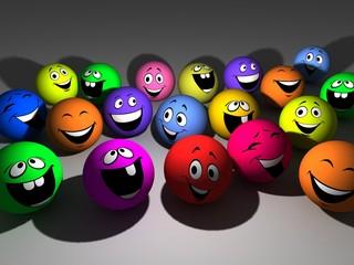 3D illustration group varicoloured smiling ball