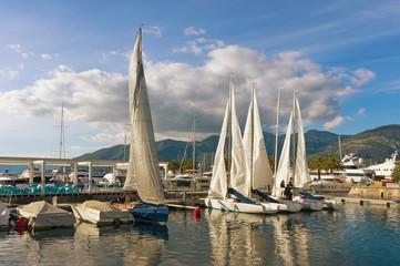 Prepare to set sail. Port in Tivat city, Montenegro