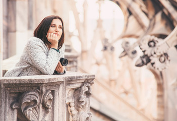 Tourist woman enjoy with calm atmosphere on the roof of Milano C
