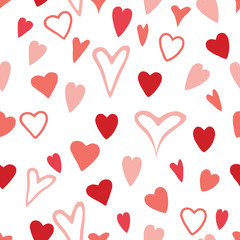Seamless pink and red hand drawn hearts pattern design on white