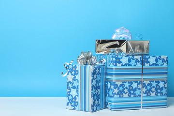 Beautiful blue gift box.