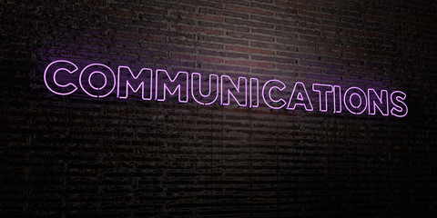 COMMUNICATIONS -Realistic Neon Sign on Brick Wall background - 3D rendered royalty free stock image. Can be used for online banner ads and direct mailers..