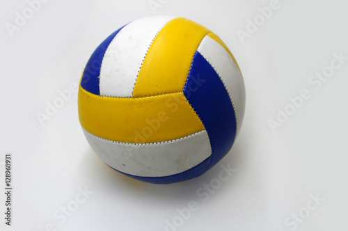 """Background Abstract Sport Volleyball Blue Yellow Ball: """"Blue And Yellow Volleyball Ball On A White Background"""