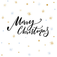 Merry Christmas text. Black typography on white vector background with snowflakes