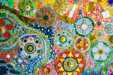 Colorful mosaic pattern background. Made from ceramic of Thai at Wat Phasornkaew in Thailand. Photo taken on: 29 November , 2016 Wall mural