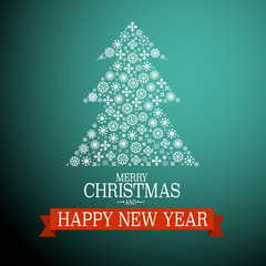 Merry Christmas and Happy New Year Card. Vector Tree Made from Snowflakes.