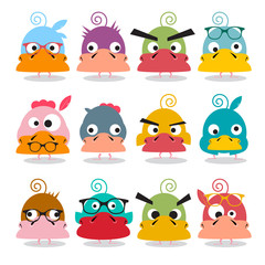 Chicken Cartoon. Funky Birds Characters. Vector Funny Animals.