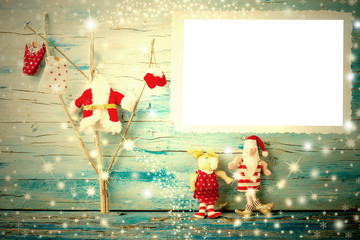 Christmas photo frame card Santa, reindeer and tree