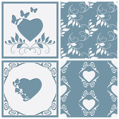Cut paper frame in the form of heart. Two seamless pattern for any design. Vector illustration.