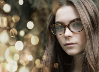 girl with glasses in the street, fashion, glamor