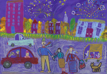 A happy family Watching Fireworks. Buildings, cars and buses