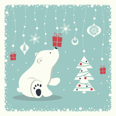 The cover design. Depicts a seated little polar bear. A garland of snow balls, christmas toys, gift box, snowflakes and christmas tree  on blue background.