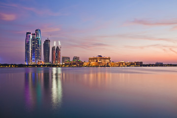 Abu Dhabi skyline at the sunset