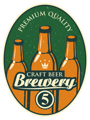 label for the brewery with a beer bottle