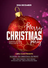 Christmas Party design template with decoration ball