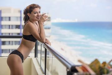 Hispanic Brunette Model At A Resort