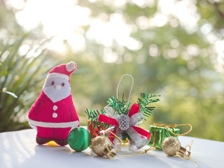 Santa Claus and Christmas gifts and shopping cart