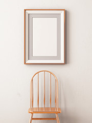 mock up poster in a frame on a chair. Hipster style. Art Deco. 3d illustration.