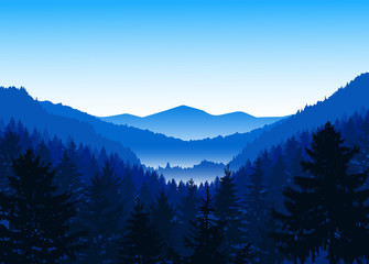 Panorama of mountains. Valley(canyon). Three peaks. Blue shades. Winter.