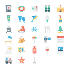 Summer and Holidays Colored Vector Icons 3