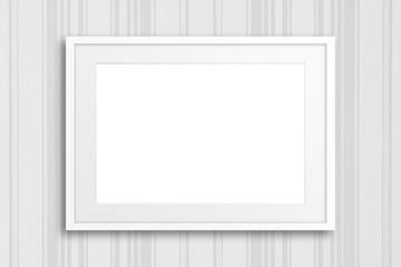 Blank frame on striped design wallpaper,  interior decor mockup