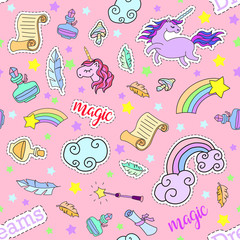 Seamless pattern with unicorns, rainbow, stars, clouds and other magic elements.Vector background with stickers, pins, patches in cartoon 80s-90s comic style. Eps 10