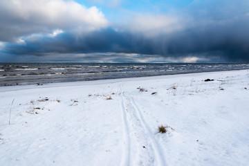 Snowy coast , gulf of Riga, Baltic sea.