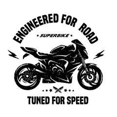 Sport bike. Emblem, t-shirt graphics.