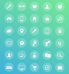30 icons, pictograms for web pages and apps vector illustration