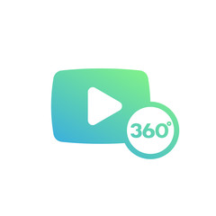 360 degrees video icon over white, vector illustration