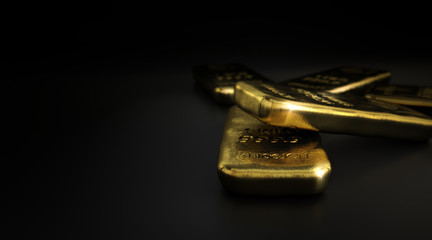 Commodities, Gold Bullion Bars Over Black