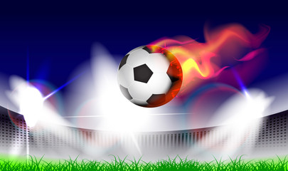 Vector illustration to football championship with a flying burning ball.