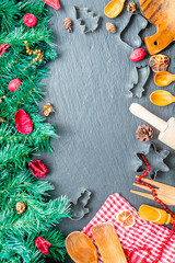 Amazing Christmas Background with Green Fir And Christmas Utensils, Top View, Free Space for Your Text, Vertical View