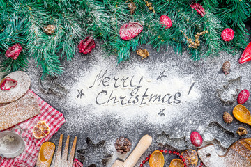 Merry Christmas Text made with Flour on Cutting Board, Amazing Christmas Background for Christmas Wallpaper or Christmas Postcard