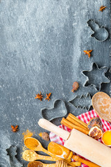 Vertical Christmas Background with Christmas Utensils and Products using for Gingerbread Cookies Preparation, Christmas Background