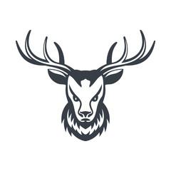 Deer head over white, vector illustration