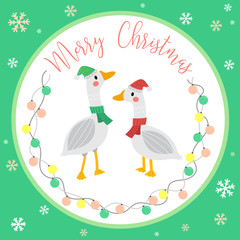 Cute Happy Geese lover merry christmas card design with color light bulbs garland on green background. Season's greetings. Vector Illustration.