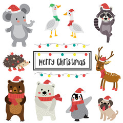 Cute Happy Animals merry christmas card design. Reindeer. Polar Bear. Geese. Penguin. Hedgehog. Bear. Raccoon. Pug dog. Elephant. Season's greetings. Vector Illustration.