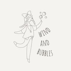 Hipster girl blowing soap bubbles. Beauty cartoon woman.