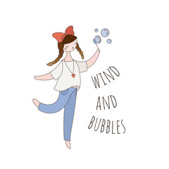 Hipster girl blowing soap bubbles. Beauty cartoon woman.