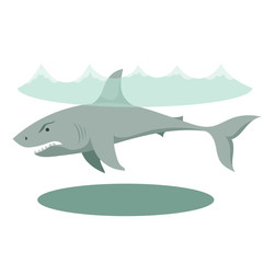 Illustration of a large gray cartoon shark with big teeth
