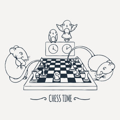 Two cute rats playing chess, parrots watch and switch the time.