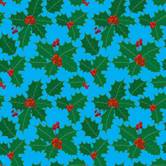 christmas and new year seamless pattern with holly leaves and be