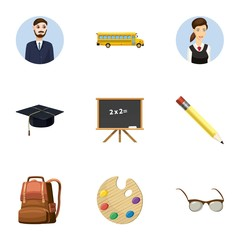 Schoolhouse icons set. Cartoon illustration of 9 schoolhouse vector icons for web